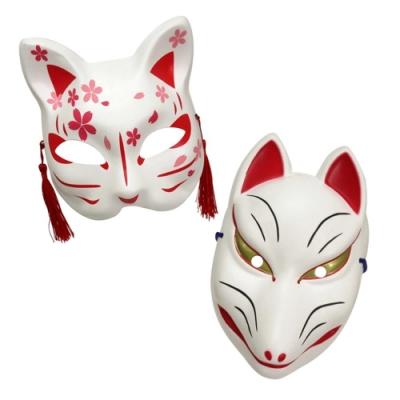 日本株式会社ファーストアロー和風全臉狐面具/半臉貓面具3345系列貓咪面具/狐狸面具 適萬聖節化妝舞會cosplay角色扮演
