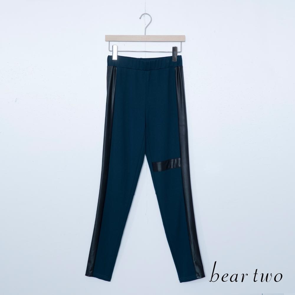 beartwo-仿皮壓邊休閒長褲-深藍