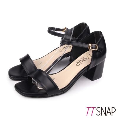TTSNAP涼鞋-簡約顯瘦瑪莉珍中跟涼鞋 黑