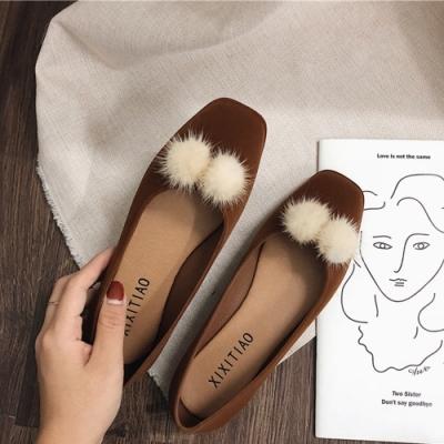 KEITH-WILL時尚鞋館 韓時尚典雅拼接毛球平底鞋 棕