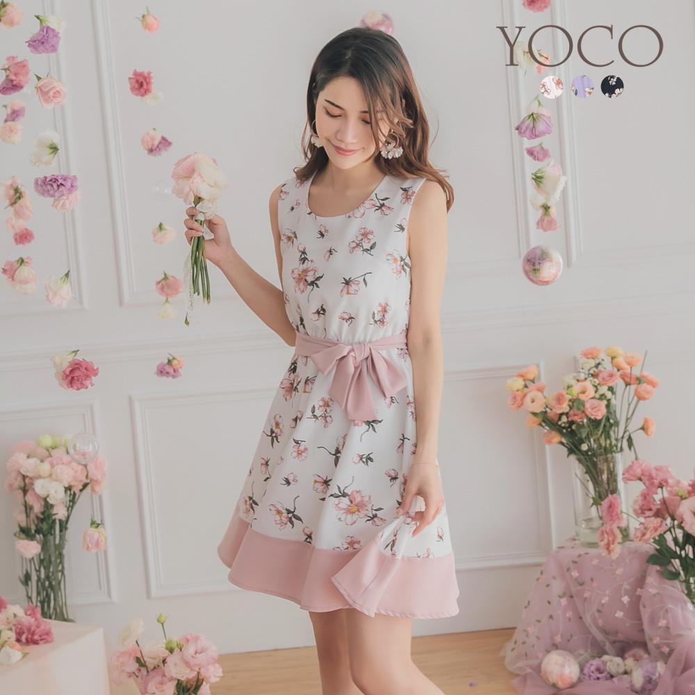 東京著衣-YOCO 特調印花腰綁帶拼接下擺背心洋裝-S.M.L(共三色)