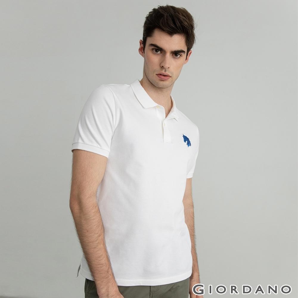 GIORDANO  男裝簡約刺繡馬頭POLO衫 - 03 標誌白