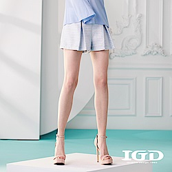 IGD英格麗 細條緹花活褶拼接短褲-水藍
