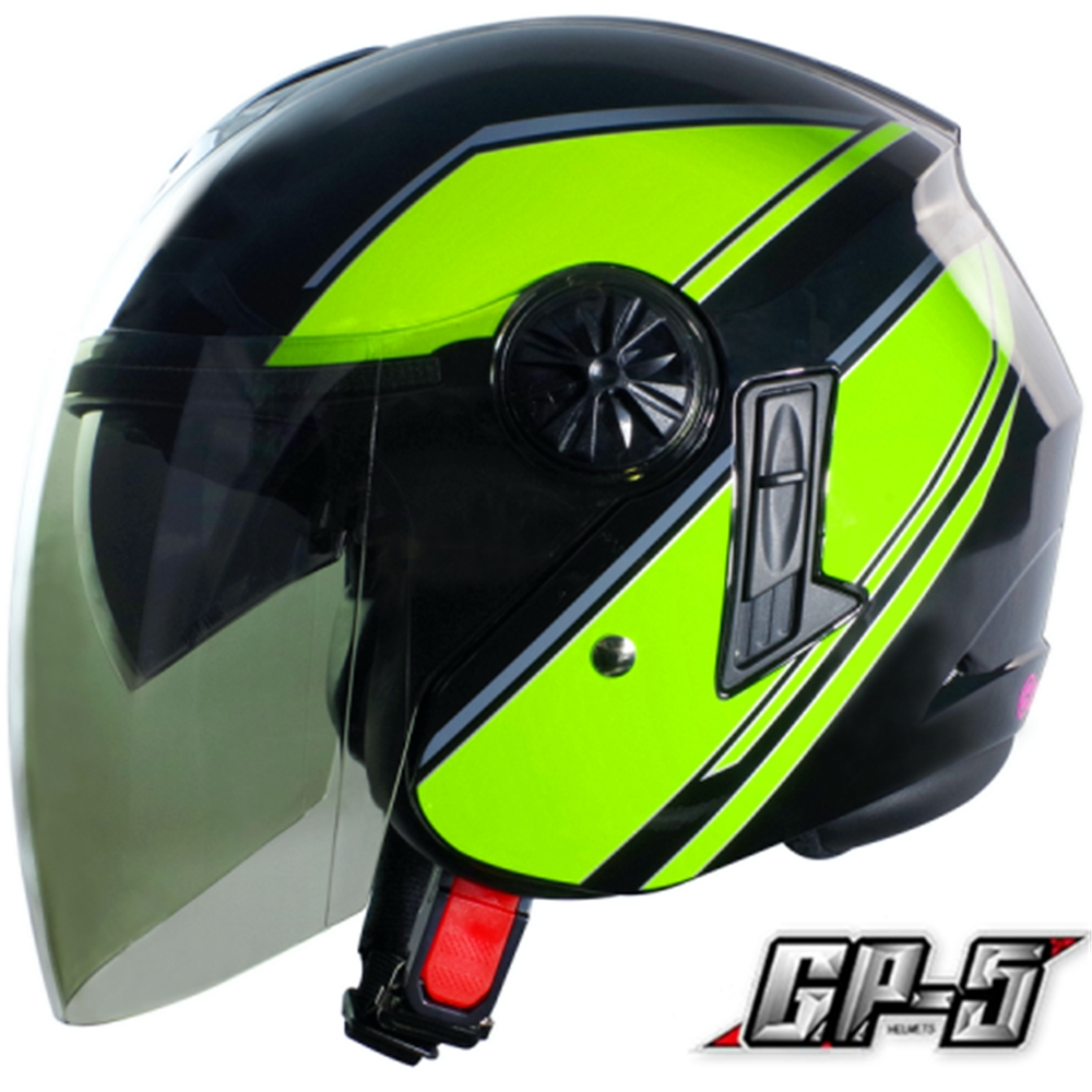 【GP-5】簡約 安全帽 雙鏡片│導流通風設計│機車│內襯│開放式安全帽│內墨鏡 (黑綠)