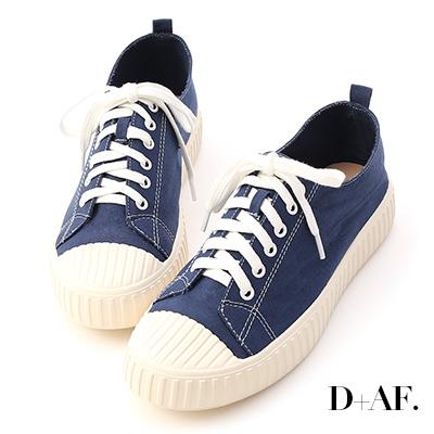 D+AF 玩色趣味.多色帆布休閒餅乾鞋*藍