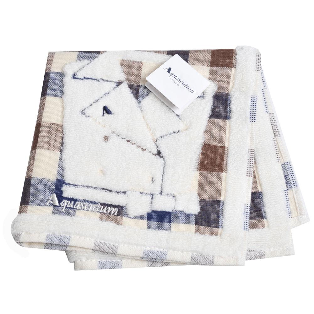 Aquascutum 經典品牌格紋風衣圖騰字母LOGO刺繡小方巾(咖藍格)