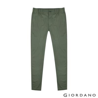 GIORDANO 男裝鬆緊腰素色修身休閒九分褲-50 葡萄葉綠