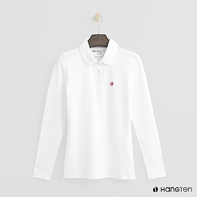 Hang Ten - 女裝 - 素面長袖POLO衫 - 白