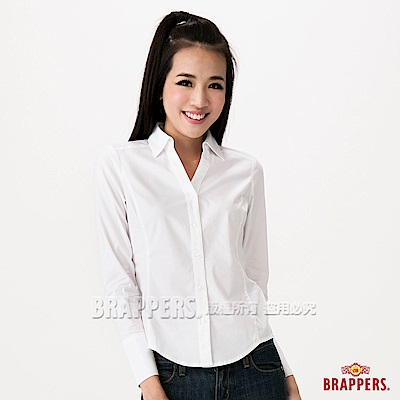 BRAPPERS 女款 合身長袖襯衫-白
