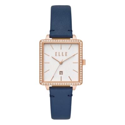 ELLE Ile De La Cite 系列方型晶鑽腕錶-深藍(ELL21024)