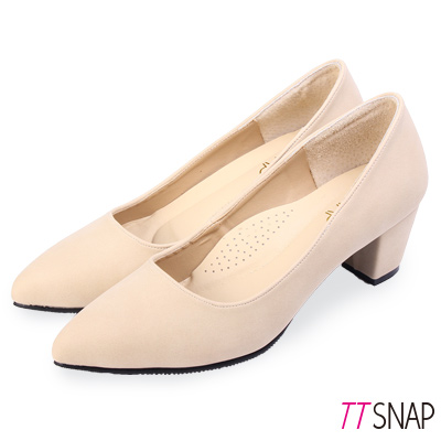 TTSNAP中跟鞋-MIT高雅修長粗跟尖頭鞋 米