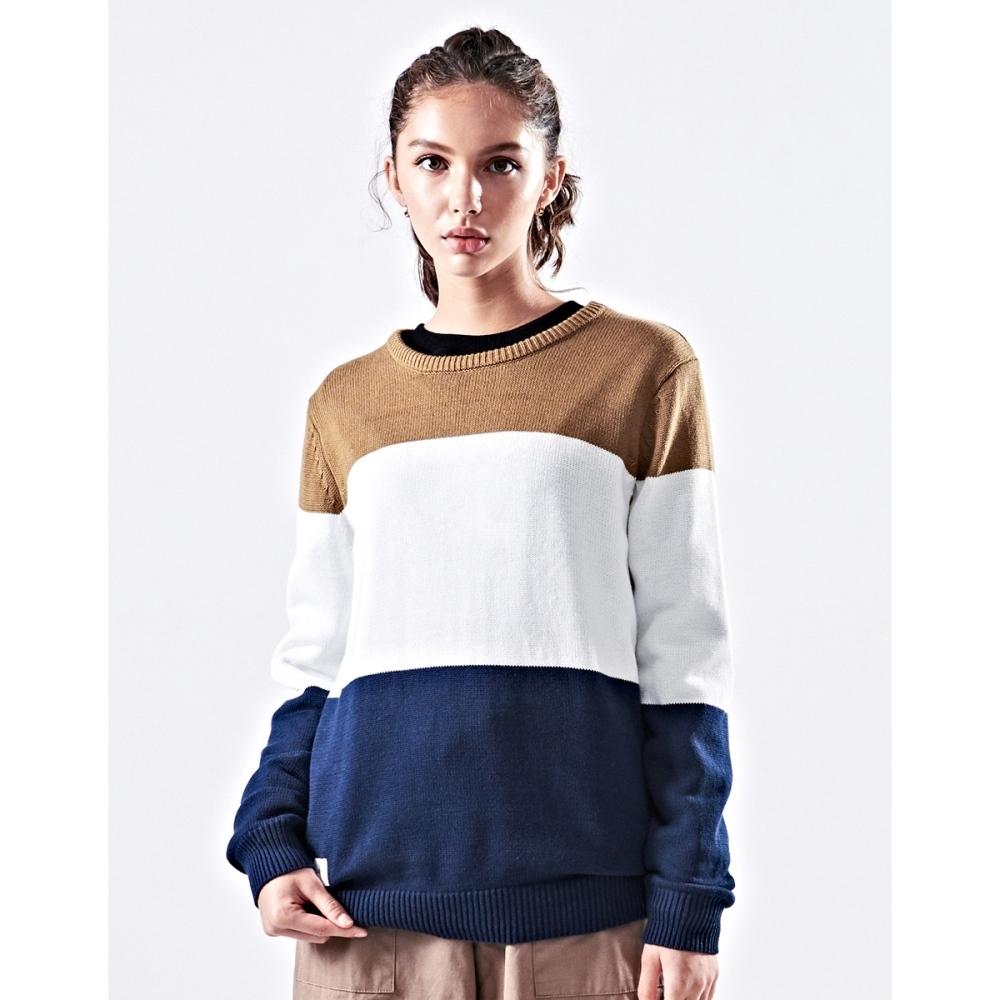NAVY-品牌拼色毛衣-情侶款-女【VNA050】