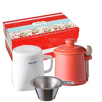 ZERO JAPAN 陶瓷儲物罐(蘿蔔紅) 泡茶馬克杯(白)超值禮盒組