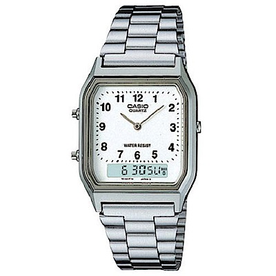 CASIO 銀色時尚復古雙顯指針錶(AQ-230A-7B)-數字白面/29.5mm