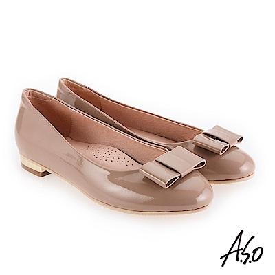 A.S.O 個性都會 高質感奢華鏡面平底鞋 卡其