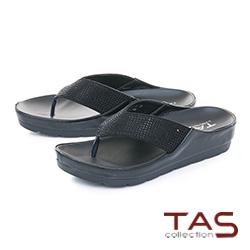 TAS滿版水鑽寬繫帶厚底夾腳涼拖鞋-實搭黑
