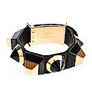 FENDI BRACCIALE系列黑金壓克力材質牛皮配鉚釘手環