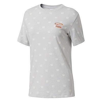 PUMA-女性流行系列OG刺繡印花短袖T恤-淺灰-歐規