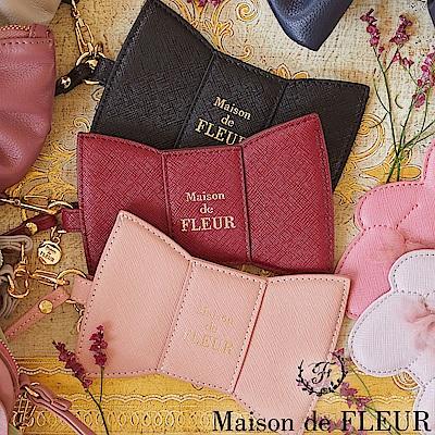 Maison de FLEUR 仿皮革蝴蝶結造型卡套