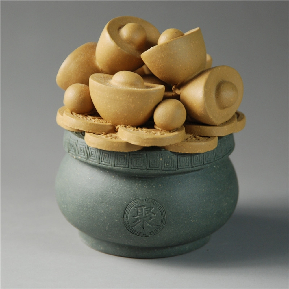 【古緣居】 紫砂招財聚寶盆茶寵 (兩色任選) product image 1