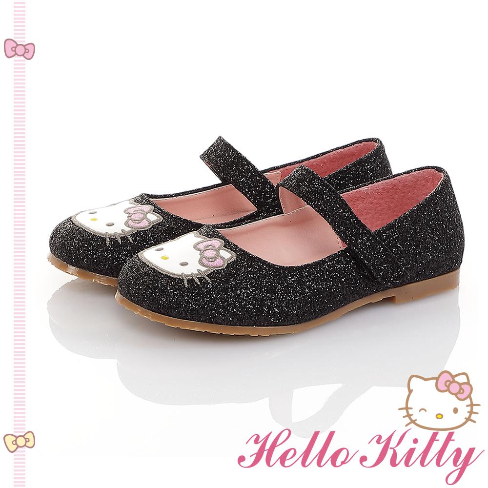 HelloKitty童鞋 傳統手工鞋氣質金蔥真皮娃娃包鞋-黑