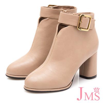 JMS-簡約美型金屬大方扣粗高跟短靴-米色
