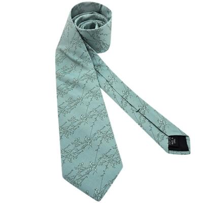 Calvin Klein 湖水綠色花瓣圖樣繡線造型領帶
