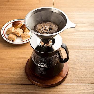 慢拾光/手沖式不鏽鋼咖啡組(304不鏽鋼濾網+含蓋玻璃壺)