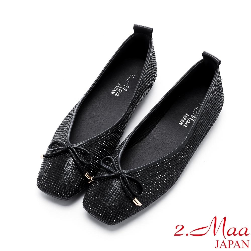 2.Maa 率性水鑽蝴蝶結平底方頭鞋 - 黑