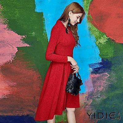 【YIDIE衣蝶】中國風典雅緹花收腰短洋裝