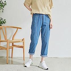 慢 生活 鬆緊腰中磅原色牛仔褲- 藍色