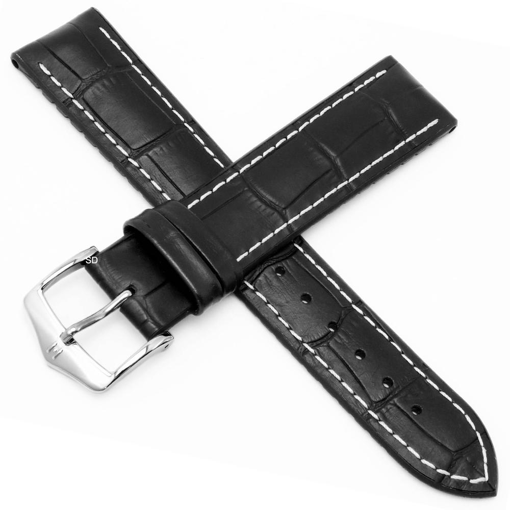 海奕施 HIRSCH George L橡膠芯小牛皮錶帶-黑
