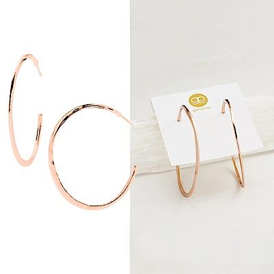 GORJANA 美國品牌Arc Large Hoops大C型耳環 925純銀鑲18K玫瑰金