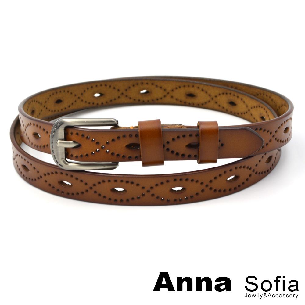 AnnaSofia 眼型波線鏤洞 二層牛皮腰帶皮帶(咖駝)