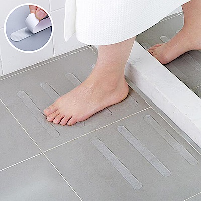 E-dot  浴廁透明無痕防水防滑貼條(12入)