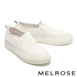 休閒鞋 MELROSE 純真簡約純色全真皮厚底休閒鞋-米白
