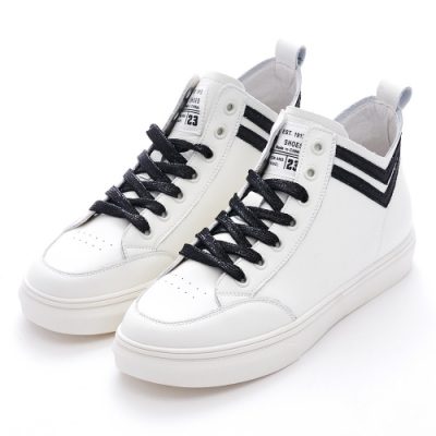 G.Ms. 閃亮雙V綁帶厚底短筒休閒鞋-黑色