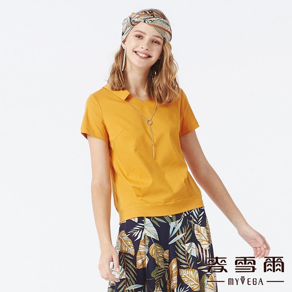 MYVEGA麥雪爾 天絲棉簡約項鍊裝飾上衣-土黃