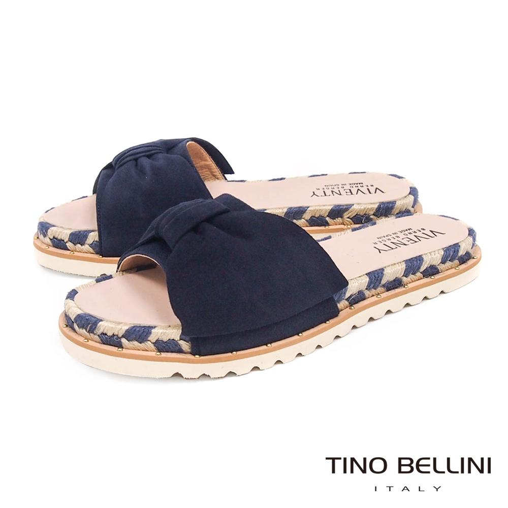 Tino Bellini 西班牙進口蝴蝶紐結雙色麻編厚底涼拖鞋 _ 深藍