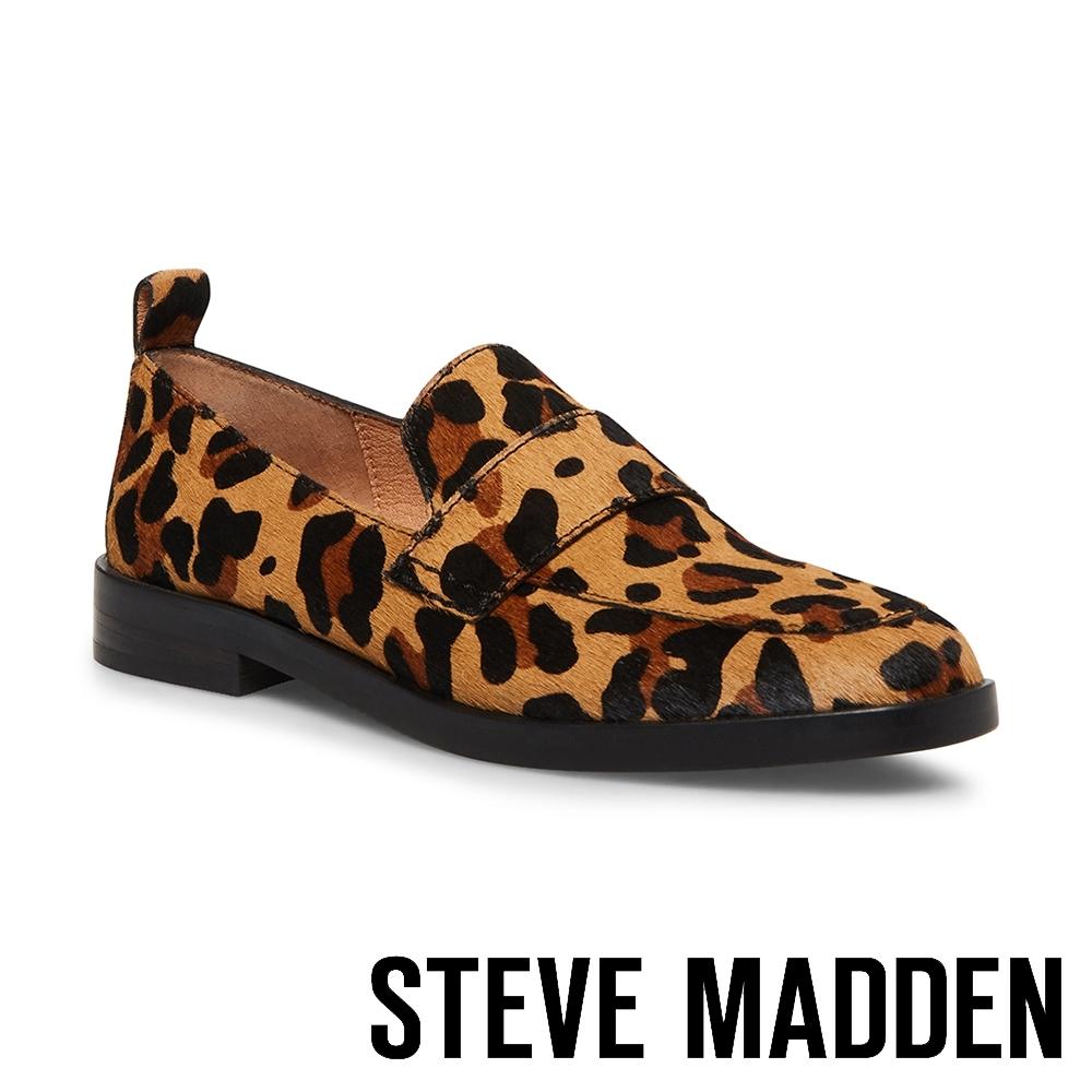 STEVE MADDEN-JUDITH 時髦潮感動物紋低跟樂福鞋-豹紋