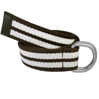 CH-BELT條紋配色雙扣環棉織帶皮帶腰帶