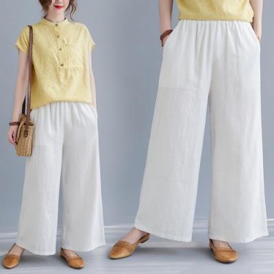 中國風禪意雅韻純色輕薄舒適寬褲-F-Keer