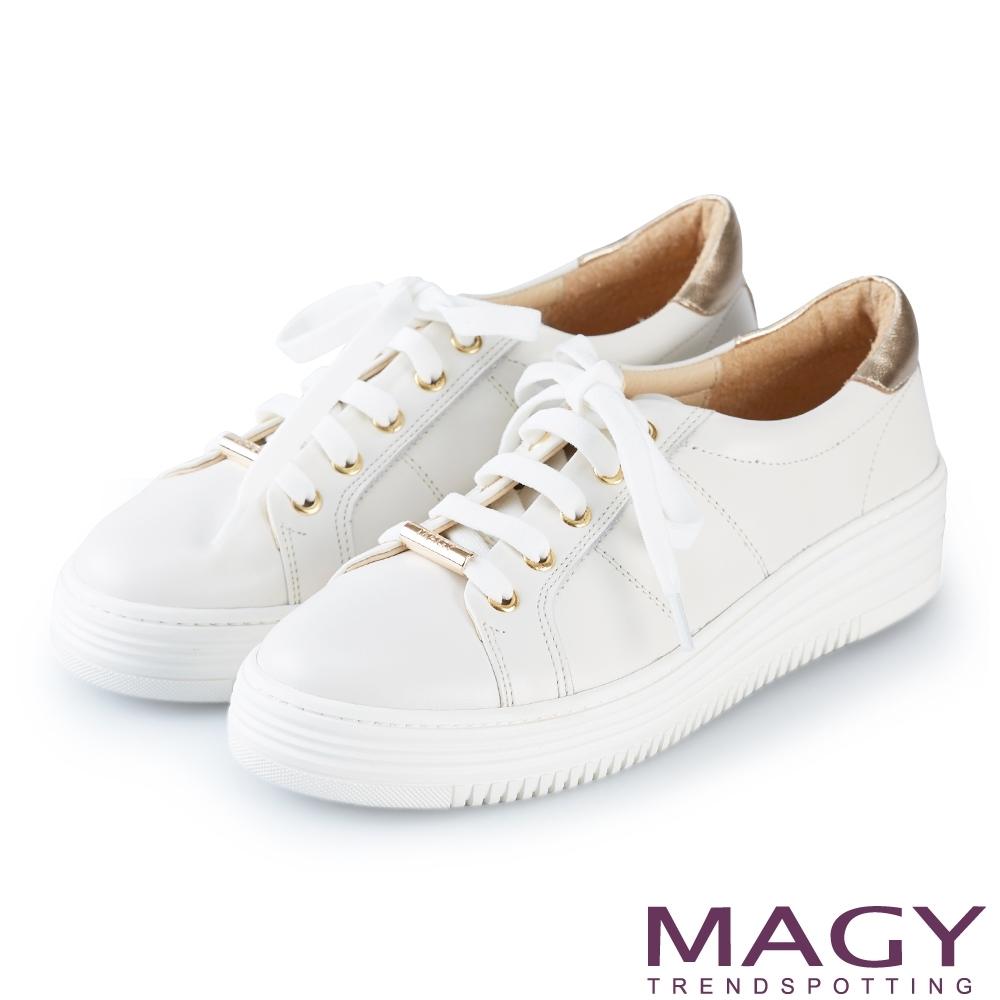 MAGY 樂活休閒 真皮綁帶厚底休閒鞋-白色