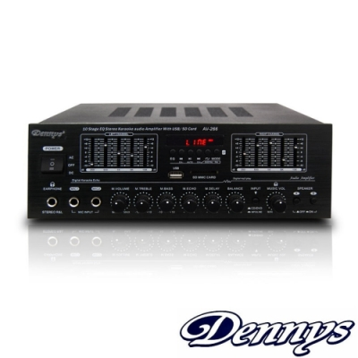 Dennys 藍牙/USB/FM/SD/MP3雙喇叭輸出迷你擴大機(AV-266B)
