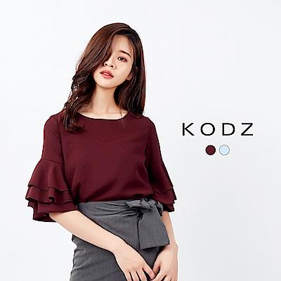 東京著衣-KODZ 時尚都會知性七分傘袖上衣-S.M.L(共二色)