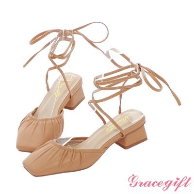 Grace gift X Nina-聯名方頭綁帶低跟芭蕾鞋 茶色