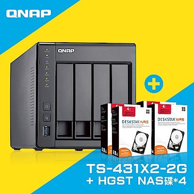 QNAP TS-431X2-2G網路儲存伺服器+HGST 4TB NAS專用硬碟