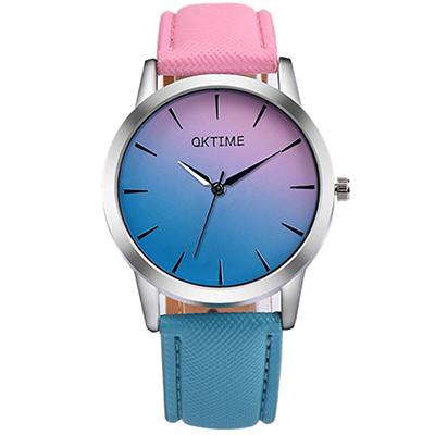 Watch-123 雙面佳人-青春時尚粉嫩漸層色帶手錶(8色任選)