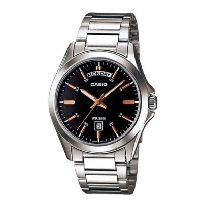 CASIO 經典復古設計指針不鏽鋼腕錶 (MTP-1370D-1A2)玫瑰金針/40mm