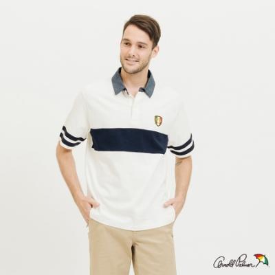 Arnold Palmer-男裝-運動色塊拼接橄欖球衫-白